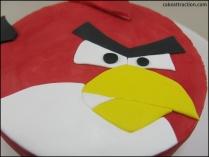 Tarta Angry Birds (ganache rojo)